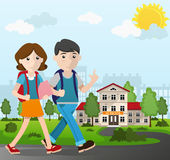 Boy and girl going to school. Boy and girl with books and backpacks going to school.  Back to school concept illustration Stock Photos