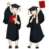 Boy and girl graduate from high school  Stock Photos