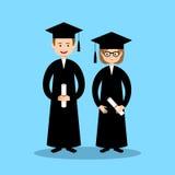 Boy and girl graduates. Vector Royalty Free Stock Image