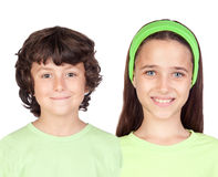 Boy and girl on green Royalty Free Stock Images
