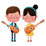 Boy and girl with guitars singing happy love Stock Photography