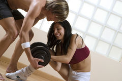 boy and girl in the gym Stock Image