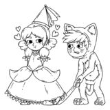 Boy and girl in halloween costumes princess and cat. Girl flirting with boy. Illustration isolated on white background. Coloring page for children royalty free illustration