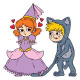 Boy and girl in halloween costumes princess and cat. vector illustration