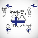 Boy and girl. Hand-drawn boy and girl holding flag on a white background, cartoon doodle Finland Royalty Free Stock Photography