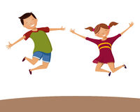 Boy and girl happily jump Stock Image