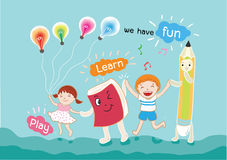 Boy and girl have fun for learning vector illustration Stock Photos