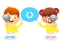 Boy and girl is have one's eyesight test. Education and life Cha Royalty Free Stock Photos