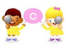 Boy and girl is have one's eyesight test. Education and life Cha Royalty Free Stock Photography