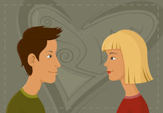 Boy and girl. Heads profile Royalty Free Stock Image