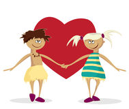 Boy, girl and heart Stock Photography