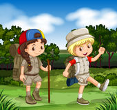 Boy and girl hiking in the park Royalty Free Stock Photo