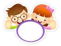 Boy and girl is holding a big board. Education and life Characte Stock Images