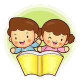 Boy and girl is holding a big book. Education and life Character Royalty Free Stock Images