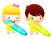 Boy and girl is holding a big crayons. Education and life Charac Stock Photography