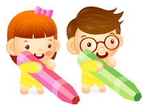 Boy and girl is holding a big crayons. Education and life Charac Stock Images