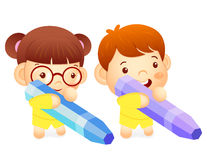 Boy and girl is holding a big crayons. Education and life Charac Royalty Free Stock Photo
