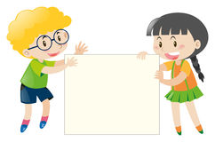 Boy and girl holding blank sign Royalty Free Stock Images