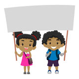 Boy and a Girl Holding a blank Signage Stock Photo