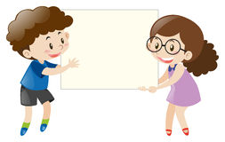 Boy and girl holding blank white board Royalty Free Stock Photography
