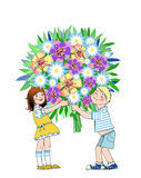 Boy and girl holding bouquet. For mother stock illustration