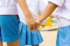 Boy and Girl holding hands Royalty Free Stock Photo