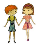Boy and girl holding hands Stock Photo