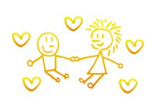 Boy and girl holding hands with a hearts. Symbol abstract cartoon drawing. stock illustration