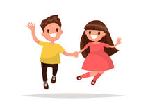 Boy and girl holding hands are jumping. Vector illustration. Of a flat design Stock Photos