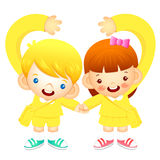 Boy and girl holding hands tenderly, makes a love gesture. Educa Stock Photos