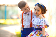 Boy and girl holding hands. Valentine's Day. Love story Royalty Free Stock Photography