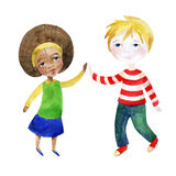 A boy with a girl holding hands. Watercolor children. A boy with a girl holding hands. Happy Friendship day background. Hand painted illustration Stock Image