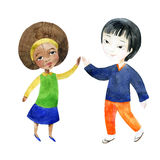 A boy with a girl holding hands. Watercolor children. A boy with a girl holding hands. Happy Friendship day background. Hand painted illustration Royalty Free Stock Image