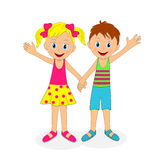 Boy and girl holding hands and waving their hand Royalty Free Stock Image