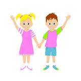 Boy and girl holding hands and waving their hands Royalty Free Stock Photos