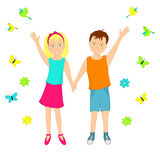 Boy and girl holding hands and waving their hands Royalty Free Stock Photography