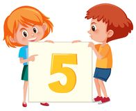 Boy and girl holding number five royalty free illustration