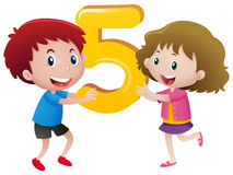 Boy and girl holding number five vector illustration