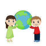 Boy and girl holding planet earth. Stock Photos