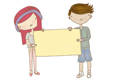 Boy and Girl Holding Sign. An artwork of a couple holding a blank banner Stock Photo