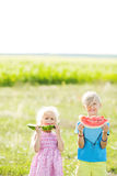 A boy and a girl are holding watermelon slices. A brother and sister with blond hair eat a watermelon. Stock Images