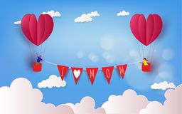 Boy and girl in a hot air balloon on  summer holidays. Love mom. Concept. Happy mother`s Day wallpaper, poster, card. Vector illustration Stock Photos