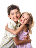 Boy and girl hug portrait Stock Images