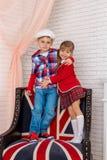 Boy with girl hug Stock Photography