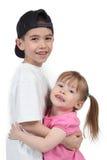 Boy and girl hugging Stock Photos