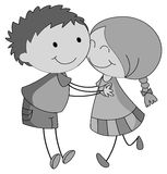 Boy and girl hugging and kissing Stock Photo