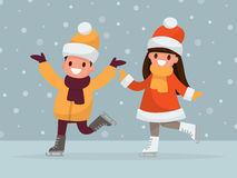 Boy and girl are ice-skating. Vector illustration of a flat desi. Gn Royalty Free Stock Image
