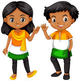 Boy and girl from India waving hands. Illustration Royalty Free Stock Photography
