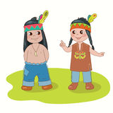 Boy and girl. Indian boy and girl on the white background stock illustration