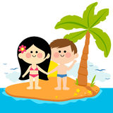 Boy and girl on an island Stock Photo